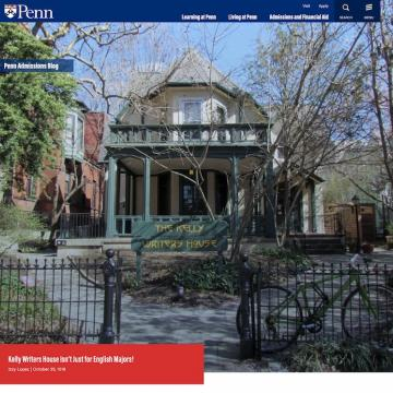 """Exterior of Kelly Writers House overlaid text at top reading """"Penn Admissions Blog"""" and at bottom reading """"Kelly Writers House Isn't Just for English Majors! Izzy Lopez 