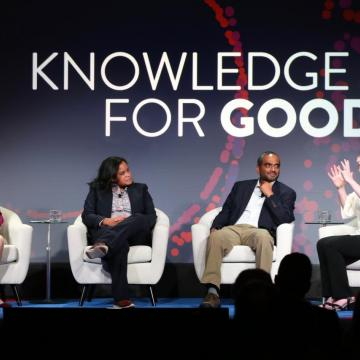 Penn President Amy Gutmann holds a conversation at a 'Power of Penn' campaign kickoff event in Boston with professors Donita Brady of the Perelman School of Medicine, Vivek Shenoy of the School of Engineering and Applied Science, and Emily Steiner of the School of Arts and Sciences.