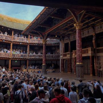 "Students visiting the restored Globe Theater to view ""As You Like It"" and ""Hamlet."""
